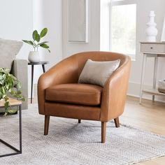 Jonah Leather Chair   West Elm Plywood Furniture, Furniture Decor, Furniture Design, Library Furniture, Apartment Furniture, Apartment Ideas, Brown Leather Chairs, Leather Accent Chairs, Leather Sofas