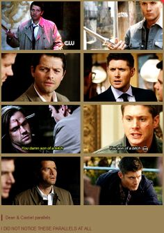Dean and Cas Parallels [gifset] - click through for all the blade spinning, scoffing, cursing and rolling of eyes! - Supernatural