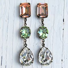 Peach, Mint & Crystal Drop Earrings by Collection