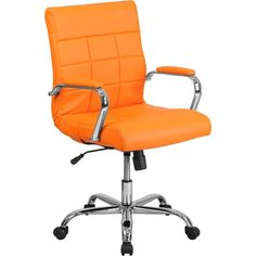 Offex Mid-back Orange Vinyl and Chrome Executive Swivel Office Chair (Chair)
