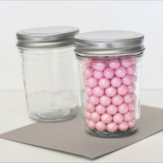 Fill these Mini Mason Jars with your favorite treats for weddings, baby showers or parties.