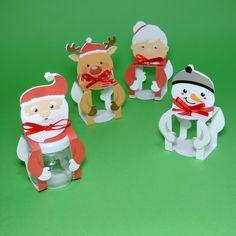 Caixa para potinho de geléia com temática de Natal. São 4 modelos diferentes: papai Noel, mamãe Noel, rena Rudolph e boneco de neve.