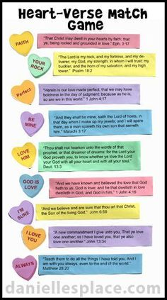 candy heart and bible verse bulletin board display for valentines day sunday school lesson matching game