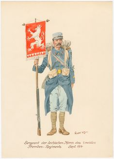 Sergeant of the czech company of the French Foreign Legion - September 1914 Commonwealth, French Foreign Legion, French Empire, French Army, Military Uniforms, Army & Navy, Japan, Drawing Sketches, World War