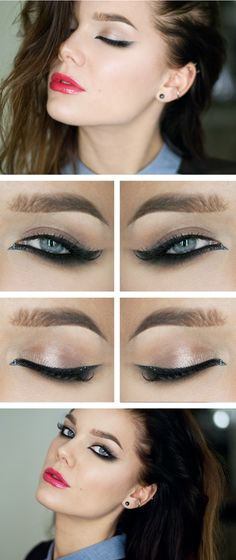 Make-up: Linda Hallberg - the most insanely beautiful dramatic winged eyeliner ever. Love Makeup, Makeup Inspo, Makeup Tips, Hair Makeup, Makeup Blog, Cheap Makeup, Makeup Ideas, Makeup Tutorials, Makeup Trends