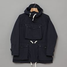 Engineered Garments Over Parka in Navy Poly Cotton Poplin