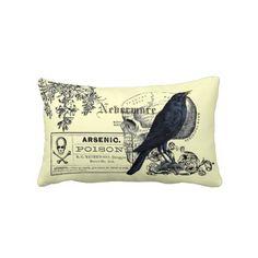 Edgar Allen Poe Raven Collage Throw Pillows $52.95
