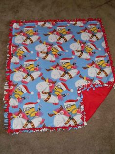 "Minions Holiday Santa Anti-Pill No-Sew Fleece Blanket Large 64""x57"""