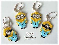 Afficher l'image d'origine Seed Bead Earrings, Seed Beads, Crochet Earrings, Minions, Brick Stitch, Beading, Patterns, Friends, Jewelry