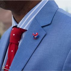 Diplomatic look by David, our royal customer (IG: @thestyleminister), featuring our lapel knot in red white and blue. Thank you sir for sharing.