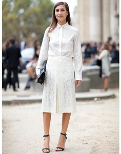 Street Style. Wearing a white button up shirt paired with a white lace pencil skirt.