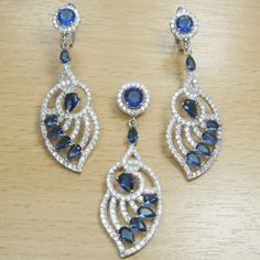 Micro Setting Brilliant Cut Blue and White CZ 925 Sterling Silver Jewelry Set