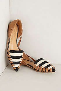Striped flat loafers with a pointed toe... So cute! #anthro