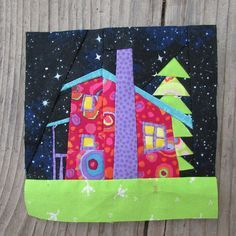I finally finished my last house for our wonky nighttime sky house block swap! I'd love to live here. House Quilt Patterns, House Quilt Block, Paper Piecing Patterns, Quilt Blocks, Quilting Patterns, Small Quilts, Mini Quilts, Quilting Projects, Quilting Designs