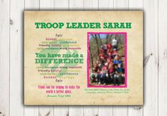 Looking for a great gift to thank your Girl Scout Troop Leader? Order this print and I will personalize with your troop leaders name, troop name/number, girls names and a photo! *YOU CHOOSE!* You can select from the FINISH drop-down menu to purchase:  -Digital file only (see printing tips below)  -8 X 10 Photo Printed & Shipped to you - price includes shipping!  -If you have multiple leaders to thank, there is an option to purchase multiple digital files or prints - this means you ca...