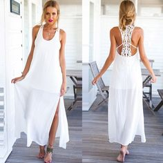 Image of [gzxy1094]Sexy Sleeveless White Strap Floral Crocheted Side Slit Maxi Dress
