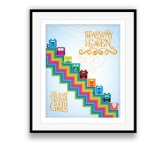Stairway to Heaven / Led Zeppelin - Music Lyric Art Print, nursery decor, kids art, lyric decor, song quote, rainbow, childrens poster