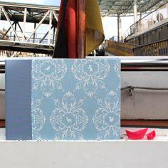 Hellblaues großes Hochzeitsfotoalbum Toile de Jouy