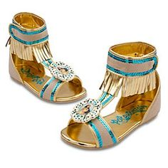Disney Pocahontas Shoes for Girls   Disney StorePocahontas Shoes for Girls - Your little one will embark on a New World of fun, adventure and excitement when she steps into our Pocahontas Shoes! The soft-textured sandals feature fringe and glitter detailing and coordinate perfectly with Pocahontas's costume.