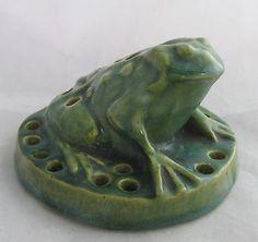 Antique McCoy Art Pottery Green Figural Toad Flower Frog | eBay