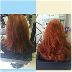 """great length extensions applied by Christina and styled by grace at Petras house of colour.. We used 125 bonds in 16"""" and mixture of coppers to achieve this look..before and after"""