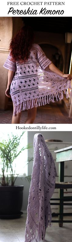 free crochet pattern kimono hooked on tilly easy to follow DIY cardigan lightweight summer swimsuit cover, fringe, boho, bohemian crochet pattern, red hair, purple, lilac, rustic