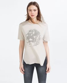 Image 1 of BEADED T-SHIRT from Zara