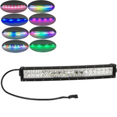 """Nicoko 22""""120W Curved LED work Light Bar with RGB chasing color changing for Offroad 12v 24v Truck ATV SUV 4WD 4x4 Driving Lamp"""