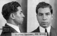 "Charles ""Lucky"" Luciano, organized crime boss of the Sicilian ""La Cosa Nostra"" Mafia, poses for an FBI photo in 1925."