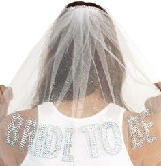 Something Blue Gem Bride To Be Rhinestone Tulle Veil - Double Layer, Bachelorette Party Veil, Bachelorette Veil on Etsy, $25.99