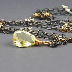 Lemon Quartz Wire Wrapped Necklace by Agusha. Oxidized Silver Necklace with Lemon Quartz Pendant on Etsy, $95.00