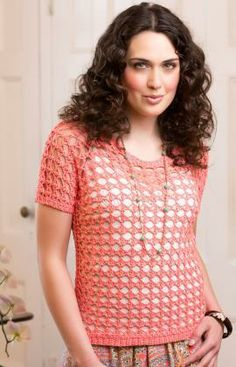 Delicate Coral Tee Free Crochet Pattern from Red Heart Yarns