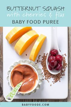 Butternut Squash + Cherries + Flax Seeds — Baby FoodE organic baby food recipes to inspire adventurous eating Baby Puree Recipes, Pureed Food Recipes, Baby Food Recipes, Food Baby, Toddler Meals, Kids Meals, Toddler Food, Butternut Squash Baby Food, Making Baby Food