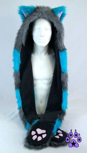 PAWSTAR Cheshire Cat Hood Hoodie Costume Gray Teal Blue Fur furry Best Soft Paws