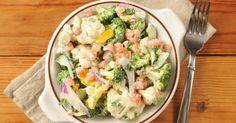 Recette de Salade caesar allégée au chou-fleur et brocoli. Facile et rapide à réaliser, goûteuse et diététique. Ingrédients, préparation et recettes associées.