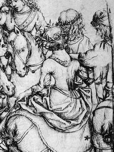 detail from departure for the hunt, last quarter 15th century, Housebook Master, South Germany (Rijksmuseum Amsterdam) note the back tucked section.s