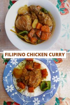 Filipino Chicken Curry is a curry stew dish from the Philippines which is mixed with coconut milk, potatoes, and carrot. Gourmet Chicken, Easy Pasta Recipes, Grilled Chicken Recipes, Easy Chicken Recipes, Healthy Dinner Recipes, Delicious Recipes, Curry Recipes, Beef Recipes, Drink Recipes