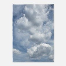 White Fluffy Clouds and Blue Sky 5'x7'Area Rug for