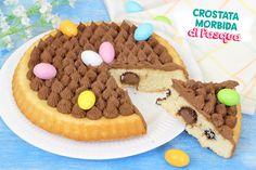 Crostata morbida al cioccolato con ovetti di pasqua