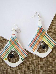 Rainbow pendulum earrings, made in Chiapas, Mexico