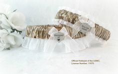 Military U.S. Marine Wedding Garter Set  by CreativeGarters