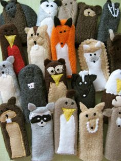 You choose 5 WOODLAND FRIENDS Furry Fingers by sweetmellyjane, $22.50