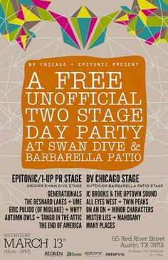 Brooklyn Vegan Chicago & Epitonic Present: A Free Inofficial Two Stage Day Party | Wednesday, March 13, 2013 | 12-6pm | Indoor Stage at Swan Dive & Outdoor Stage at Barbarella | 615 Red River | Austin, TX 78701