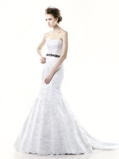 DILLON-AD / Blue Collection / Enzoani / Available Colours : Ivory/Bronze, Ivory/Silver, White/Silver (Shown in Strapless version with a Beaded Belt)