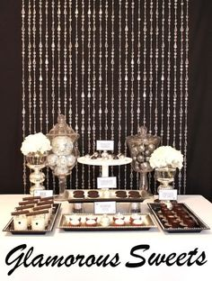 Black and white dessert table hotel party, holiday tab Dessert Party, Dessert Buffet, Candy Buffet, Candy Table, Party Candy, Elegant Dessert Table, Lolly Buffet, Party Sweets, Party Desserts