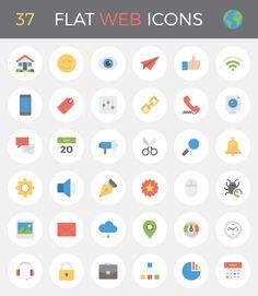 37 Flat Web Icons—Freebie #shillington #shillingtondesignblog #shillingtoneducation #freebie #flat #icon #web
