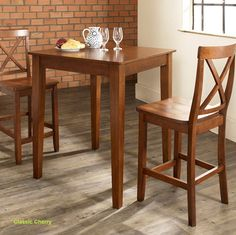 Cherry, Mahogany or Black small kitchen 3 piece Crosley counter height dining table set.