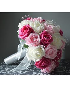 Pink wedding flowers handmade to order from high-quality artificial roses - prices start at just for a fully personalised pink faux rose bridal bouquet. Beautiful Roses Bouquet, Pink Rose Bouquet, Rose Bridal Bouquet, Bridal Flowers, Summer Wedding Bouquets, Pink Wedding Theme, Diy Wedding Favors, Bride Bouquets, Country Wedding Decorations