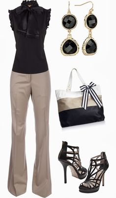 Classy Outfits | Classy Work Tory Burch blouse, BURBERRY PRORSUM trousers, BALDAN high heels, Steve Madden bag by jliz516