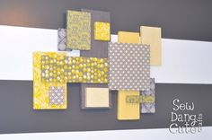 DIY Wall Art : DIY Custom Wall Art with Fabric and Foam. Pin pictures to them too. Fabric Wall Art, Diy Wall Art, Diy Wall Decor, Diy Home Decor, 3d Wall, Wall Decorations, Yellow Wall Decor, Hanging Fabric, Styrofoam Wall Art